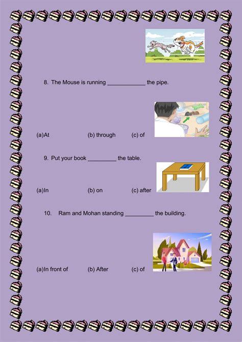 worksheet preposition