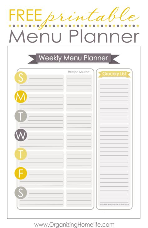 Free Printable Menu Templates by 5 Simple Ways To Keep On Top Of Meal Planning