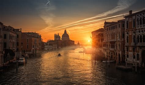 Nature Landscape Photography Sunset Canal Boat