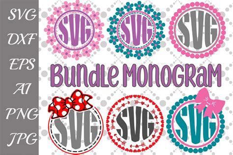 circle monogram bundle svg graphic  prettydesignstudio creative fabrica