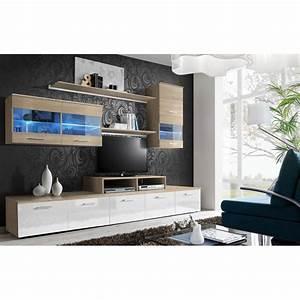 Meuble TV Mural Design Quot39Logoquot 250cm Blanc Chne