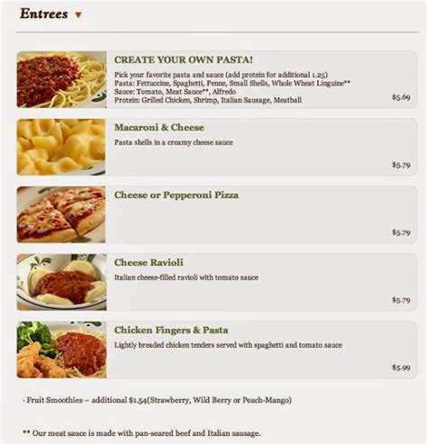 Olive garden offers a wide variety of items on its menu. The Kids Menu: Olive Garden Kids Menus & Prices