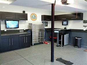 Contemporary Garage With Espresso Small Garage Storage