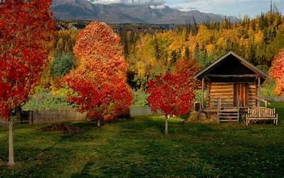 Cabin Autumn Countryside Nature Desktop Wallpapers Cabanas