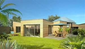 maison ossature bois de plain pied 120 m2 3 chambres With maison toit plat bois