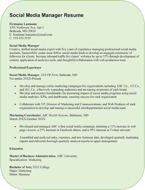 creative social media manager resume sle word pdf exle