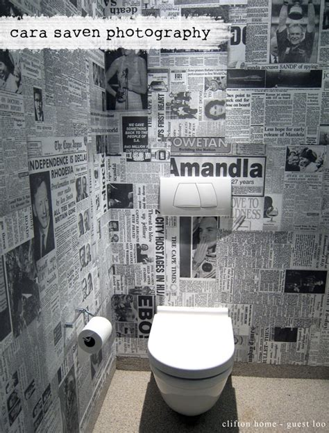 funky bathroom wallpaper ideas funky toilet wallpaper made out of old newspaper clippings home bathroom pinterest