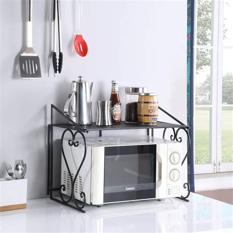 microwave oven rack wrought iron kitchen counter shelf bakers stand holder black