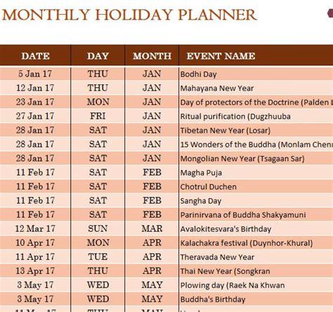 buddhist holiday calendar  excel templates