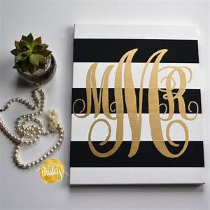 Striped Monogram Canvas Painting Black & Gold Hand Painted