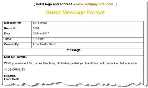 bell desk guest message format