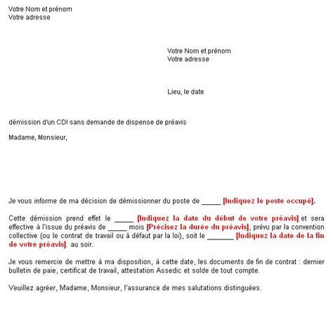 modele de lettre de préavis 1 mois exemple lettre de pr 233 avis 1 mois mod 232 le de lettre