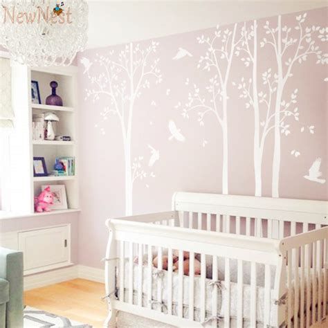 five white tree wall decal vinyl stickers birds