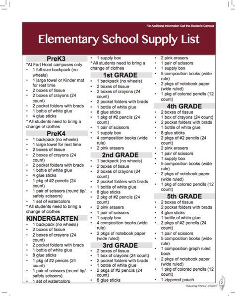 Elementary School Supply List by Killeen Independent School District Killeen Tx