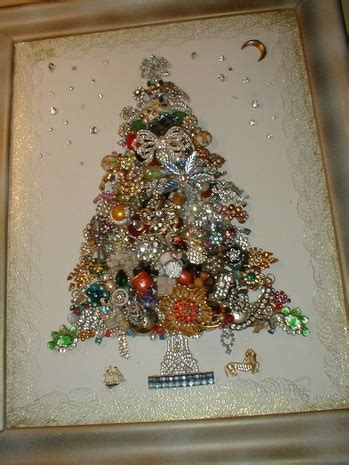 costume jewelry artwork collage   wall