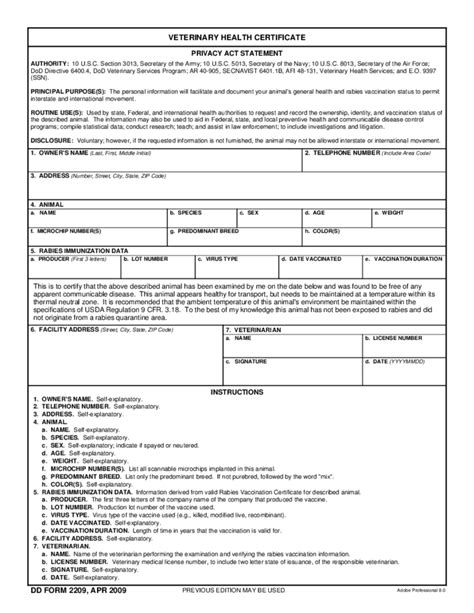 veterinary health certificate free