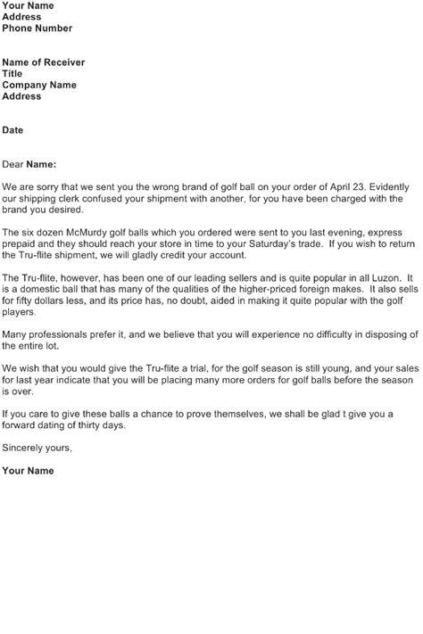Adjustment Letter Sample - Download FREE Business Letter