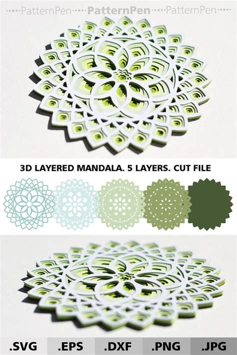 Create your diy shirts, decals, and much more using your cricut explore, silhouette and other cutting machines. 3d Mandala SVG files for cricut. Layered Mandala svg ...