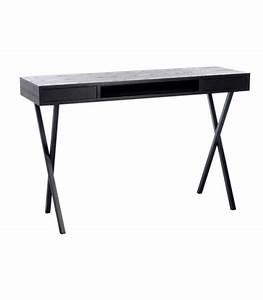 Bureau Metal Noir : bureau design en bois noir et m tal 2 tiroirs jline ~ Teatrodelosmanantiales.com Idées de Décoration