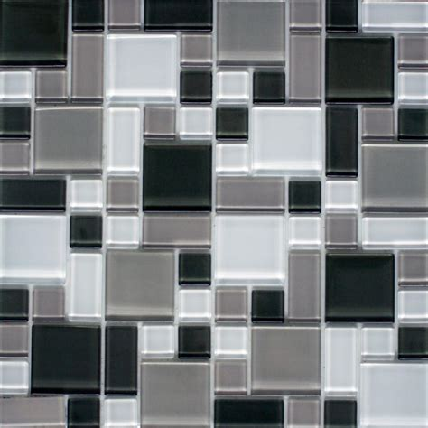 faux mosaic tiles instant mosaic peel and stick gray and white 12 in x 12 in x 6 mm glass mosaic wall tile ekb
