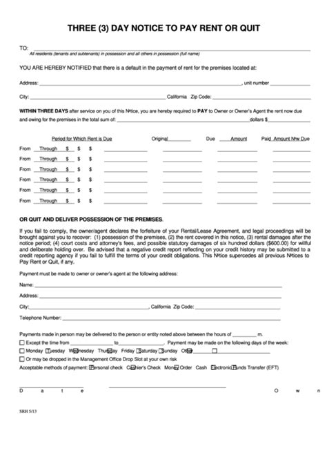 fillable three 3 day notice to pay rent or quit form
