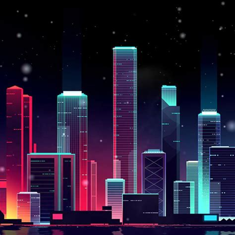 Animated City Wallpaper - neon skyline wallpaper engine free wallpaper