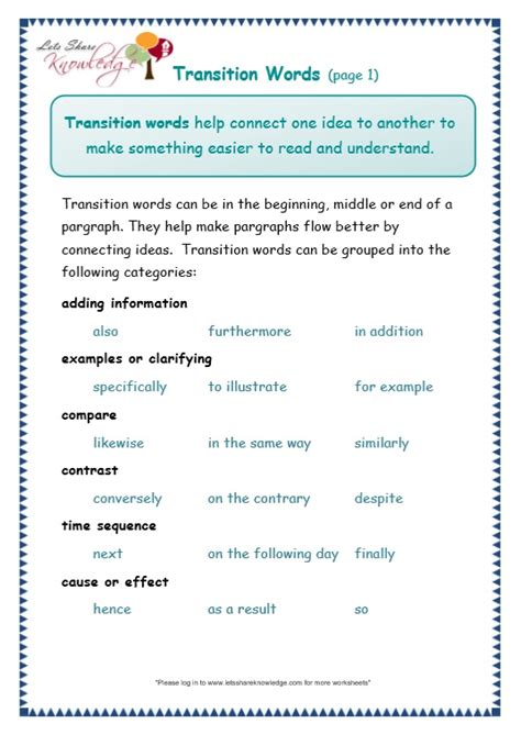 grade  grammar topic  transitions worksheets lets