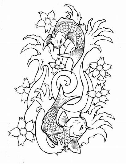 Tattoo Outlines Koi Outline Fish Flash Drawing