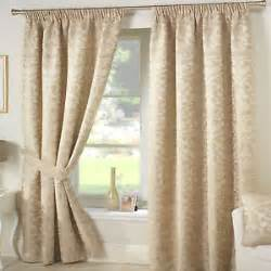 Ebay Curtains 108 Drop by Heavy Beige Damask Curtains Cream Gold Lined Tape Top