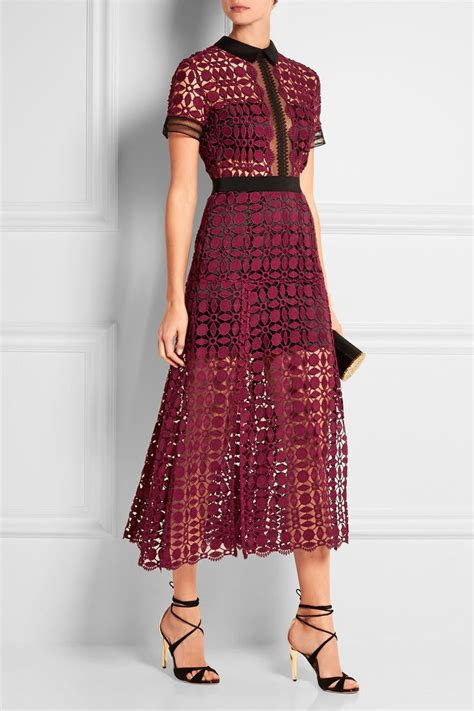 portrait guipure lace midi dress net  portercom