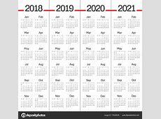 2018 2019 2020 2021 年までカレンダー ベクトル — ストックベクター © dolphfynlow