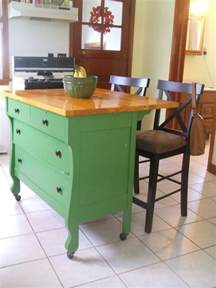 dresser kitchen island repurposed dresser to kitchen buffet with butcher block top construction home