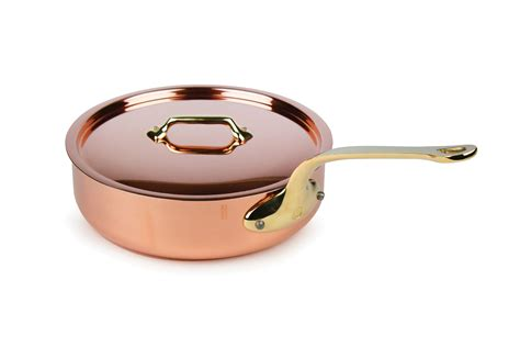 mauviel mheritage  mm copper saute pan  quart cutlery