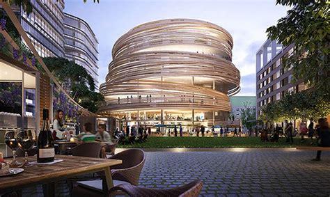 kengo kuma unveils plans  spiraling timber clad library