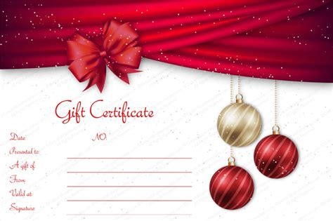 christmas gift voucher velvet ribbons gift certificate template