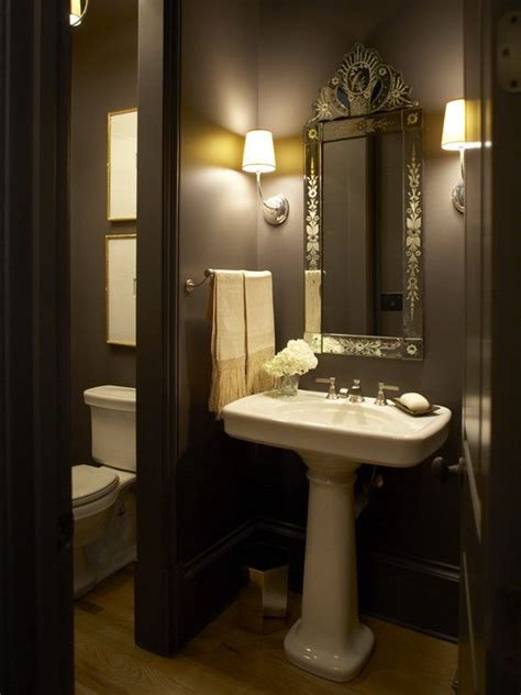 traditional home stunning powder room with bold black