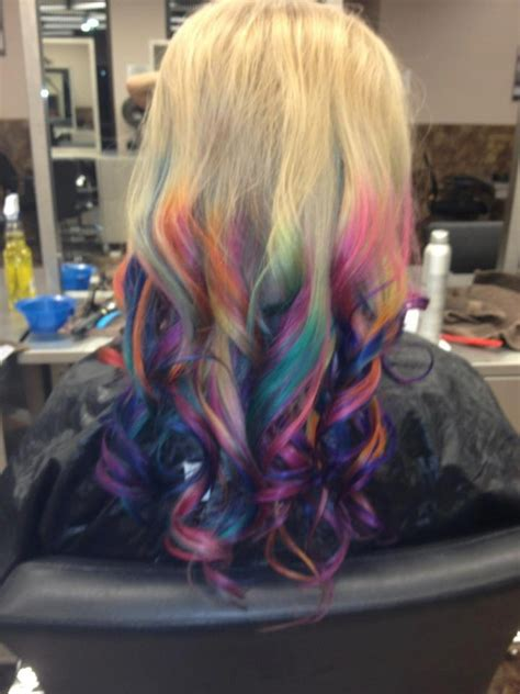Rainbow Dip Dyed Hair Hair Pinterest