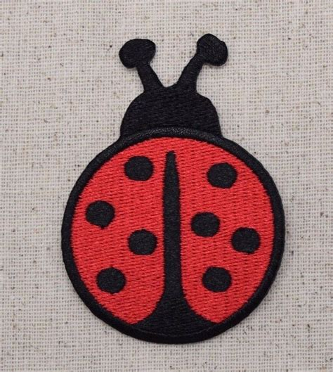 Applique Iron by Iron On Embroidered Applique Patch Large Black Ladybug