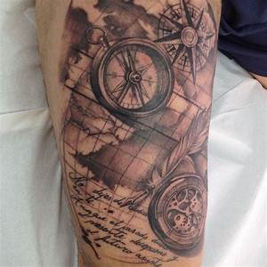 compass, pocket watch and old sailor map | Melina ...