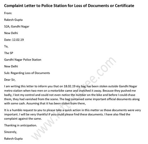 complaint letter  police station  loss  documents