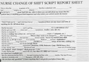 Nursing Shift Change Report Sheet