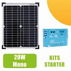 Régulateur Pour Panneau Solaire : kit panneau solaire monocristallin 20w 12v et r gulateur 5a 74 90 starter kits solaires ~ Medecine-chirurgie-esthetiques.com Avis de Voitures