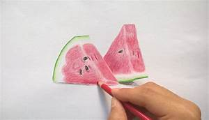 How to draw two slice of watermelon - Realistic Drawing ...