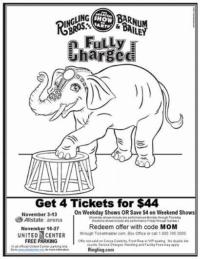 Ringling Bros Bailey Tickets Circus Barnum Coloring