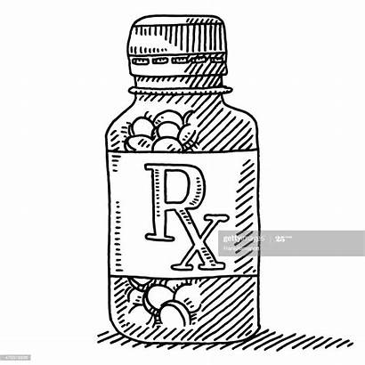 Medicine Drawing Pill Rx Container Label Vector