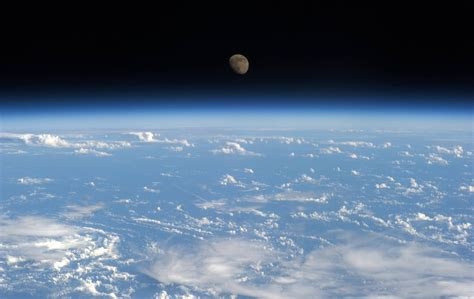 Earth Moon Seen From The International Space Station