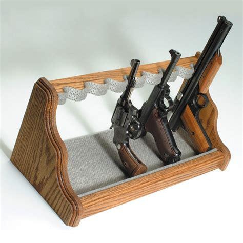 gun oak wood pistol rack velour fabric dcg stores