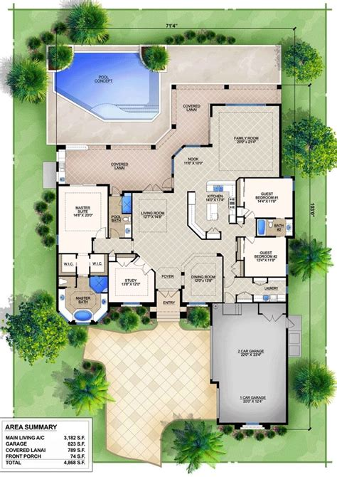 epic mediterranean house floor plans  pools  minimalist decoration  green landscaping