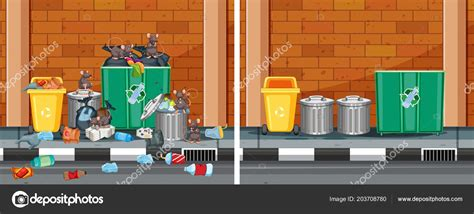 comparison clean dirty street illustration stock vector