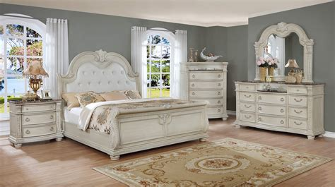 Stanley Antique White Marble Bedroom Set